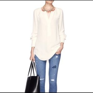 J. Crew Cream Crepe Henley Button Blouse NWOT 00